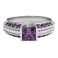 Amethyst & Diamond Ring in 10K White Gold