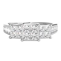1 ct. tw. Diamond Three-Stone Ring in 10K White Gold