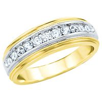 Men's 1/2 ct. tw. Diamond Band in 14K Yellow & White Gold
