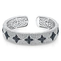 1/2 ct. tw. Black & White Diamond Cuff Bracelet in Sterling Silver