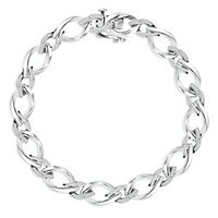 1/10 ct. tw. Diamond Link Bracelet in Sterling Silver