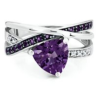 Amethyst & Diamond Ring in Sterling Silver