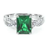 Lab-Created Emerald & White Sapphire Ring in Sterling Silver
