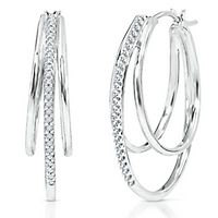 1/4 ct. tw. Diamond Hoop Earrings in Sterling Silver