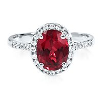Lab-Created Ruby & White Sapphire Ring in 10K White Gold