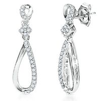 1/8 ct. tw. Diamond Teardrop Earrings in Sterling Silver