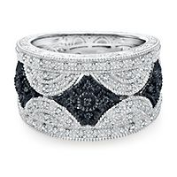 1/5 ct. tw. Black & White Diamond Ring in Sterling Silver