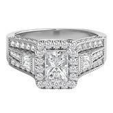 1 ct. tw. Radiant Shaped Multi-Diamond Center Engagement Ring in 14K White Gold