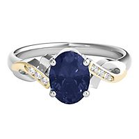 Lab-Created Sapphire & Diamond Ring in Sterling Silver & 14K Yellow Gold