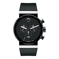 movado watches for men women helzberg diamonds quick look movado® men s watch in black stainless steel 1 795 00