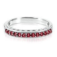 Lab-Created Ruby Stack Ring in Sterling Silver