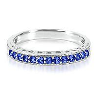 Lab-Created Sapphire Stack Ring in Sterling Silver