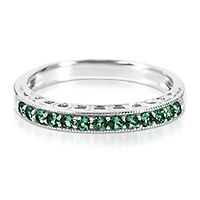 Lab-Created Emerald Stack Ring in Sterling Silver