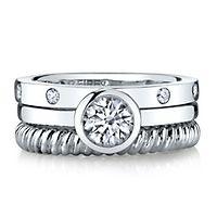 Diamonvita® 1 1/7 ct. tw. Simulated Diamond Stack Ring Set in Sterling Silver