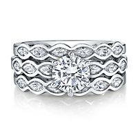 Diamonvita® 2 3/4 ct. tw. Simulated Diamond Stack Ring Set in Sterling Silver