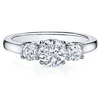 Diamonvita® 1 3/8 ct. tw. Simulated Diamond Three-Stone Ring in Sterling Silver