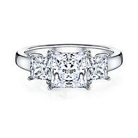 Diamonvita® 3 7/8 ct. tw. Three-Stone Simulated Diamond Ring in Sterling Silver