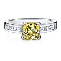 Diamonvita® 3 1/2 ct. tw. Yellow & White Simulated Diamond Ring in Sterling Silver