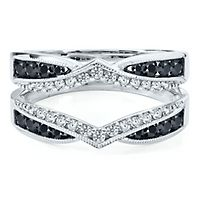 3/4 ct. tw. Black & White Diamond Ring Enhancer in 14K White Gold