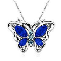 London Blue Topaz Butterfly Pendant in Sterling Silver