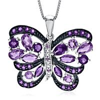 Amethyst & Diamond Butterfly Pendant in Sterling Silver
