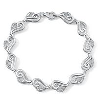 1/4 ct. tw. Diamond Heart Bracelet in Sterling Silver