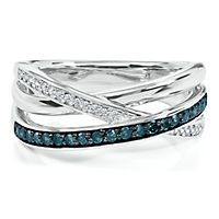1/4 ct. tw. Blue & White Diamond Ring in Sterling Silver