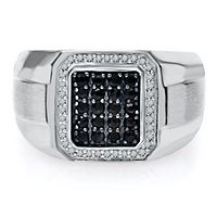 Men's Black Sapphire & 1/7 ct. tw. Diamond Ring in Sterling Silver