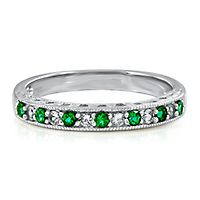 Lab-Created Emerald & White Sapphire Stack Ring in Sterling Silver