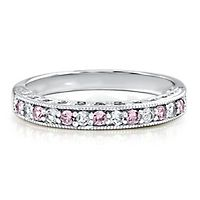 Lab-Created Pink & White Sapphire Stack Ring in Sterling Silver
