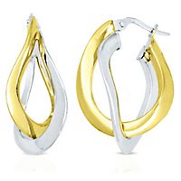 Endura Gold® Two-Tone Double Hoop Earrings in 14K Gold