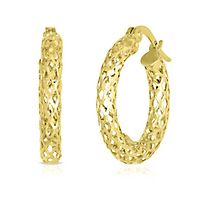 Endura Gold® Glitter Mesh Hoop Earrings in 14K Yellow Gold