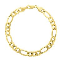 Endura Gold® Men's Figaro Link Bracelet in 14K Yellow Gold