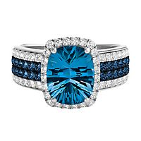 London Blue Topaz & 3/4 ct. tw. Diamond Ring in 14K White Gold