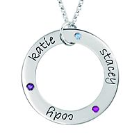 Posh Mommy Engravable Loop Pendant with 3 Birthstones in Sterling Silver