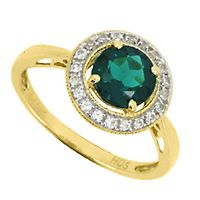 Lab-Created Emerald & White Sapphire Halo Ring in 10K Yellow Gold