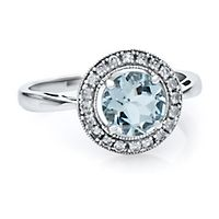 Aquamarine & Lab-Created White Sapphire Ring in 10K White Gold