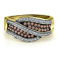1/2 ct. tw. Sparkling Champagne® & White Diamond Ring in 10K Yellow Gold