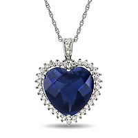 Lab-Created Blue & White Sapphire Heart Pendant in Sterling Silver