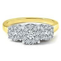3/4 ct. tw. Diamond Three-Stone Ring in 14K Yellow Gold