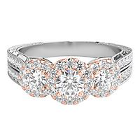 1 ct. tw. Diamond Three-Stone Anniversary Ring in 14K White & Rose Gold