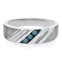 Men's 1/7 ct. tw. Blue Diamond Band in Sterling Silver