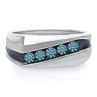 Men's 1/2 ct. tw. Blue Diamond Band in Sterling Silver