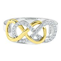 Infinity X Infinity® 1/4 ct. tw. Diamond Ring in Sterling Silver & 10K Yellow Gold