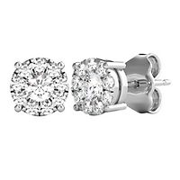 Mirabela® 1/2 ct. tw. Diamond Cluster Stud Earrings in 14K White Gold