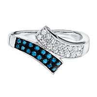 1/2 ct. tw. Blue & White Diamond Ring in Sterling Silver