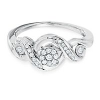 Mirabela® 1/5 ct. tw. Diamond Twist Promise Ring in Sterling Silver