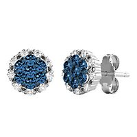 1/3 ct. tw. Blue & White Diamond Cluster Earrings in Sterling Silver