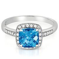 Blue Topaz & 1/8 ct. tw. Diamond Ring in 10K White Gold