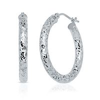 Endura Gold® Diamond Cut Hoop Earrings in 14K White Gold